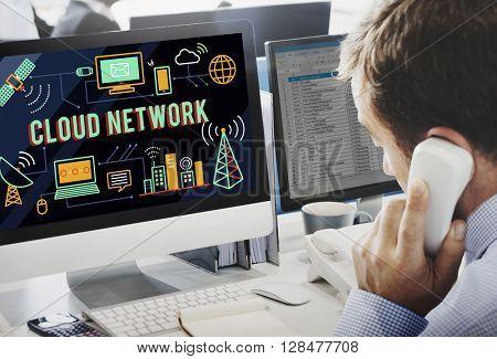 Cloud Network Computing Digital Data Storage Concept