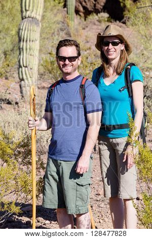 Desert Hiker Couple