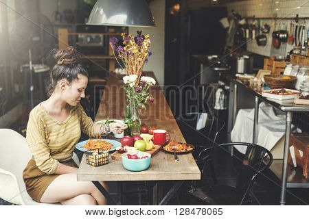 Girlfriend Eating Spaghetti Healthy Concept