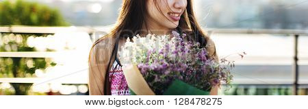 Gift Girl Happiness Leisure Calm Bouquet Relax Concept