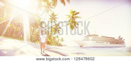 Couple Beach Bonding Romance Holiday Concept
