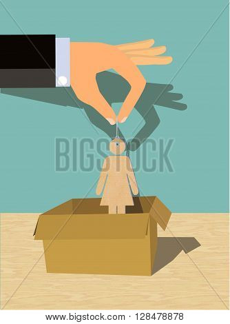 A conceptual illustration of Women Exploitation or human trafficking showing a hand of a man pulling up or putting a woman figure into a box