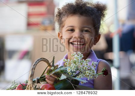 Cute Young Girl At Farmers Market