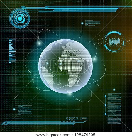 Planet Earth and satellites. Futuristic HUD interface. Infographics technology background. Stock vector illustration.