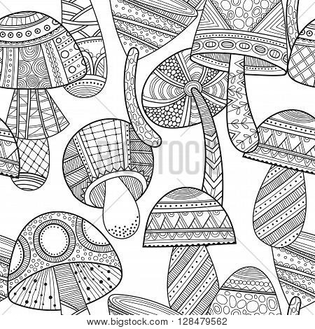 Black and white seamless pattern with decorative mushrooms for coloring book pages. Vector illustration