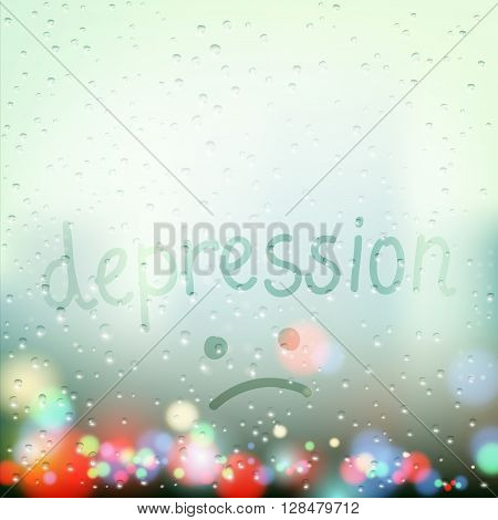 Rain on the window. Word depression is written a finger on the wet glass. Stock vector illustration.