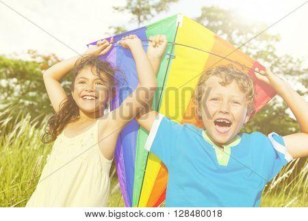 Kids Friends Happiness Leisure Summer Concept
