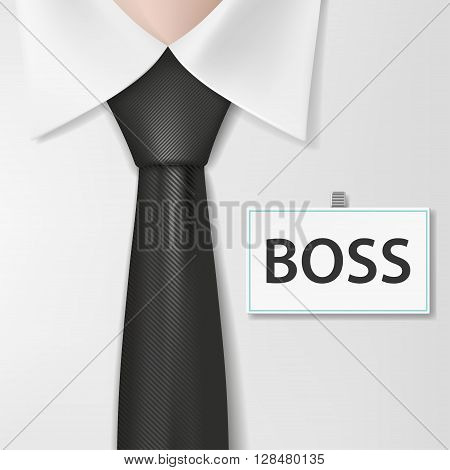 Badge with the inscription boss on a white shirt. Stock vector illustration.