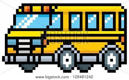 Vector illustration of School bus - Pixel design