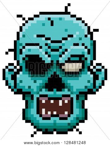 Vector illustration of Cartoon zombie face - Pixel design