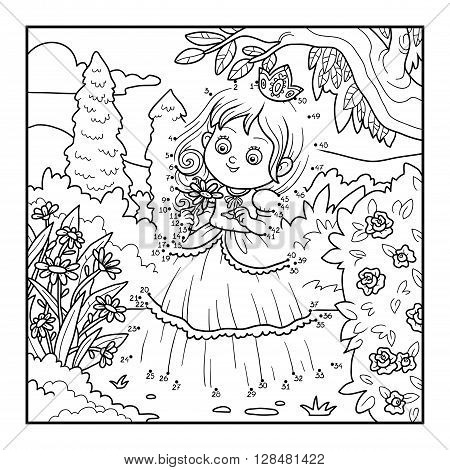 Numbers Game For Children, Little Princess With A Flower In The Garden