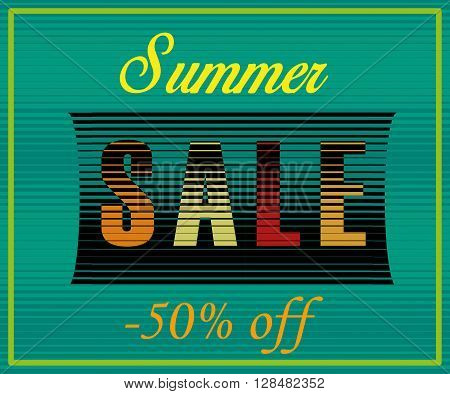 Summer Sale Inscription. Fifty percents off. Striped Colorful Letters. Vector Illustration