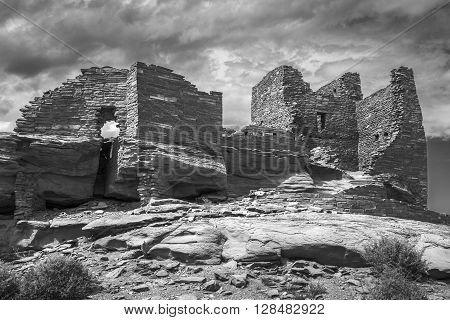 Wukoki pueblo ruin in Wupatki National Monument near Flagstaff Arizona photographed in black and white.