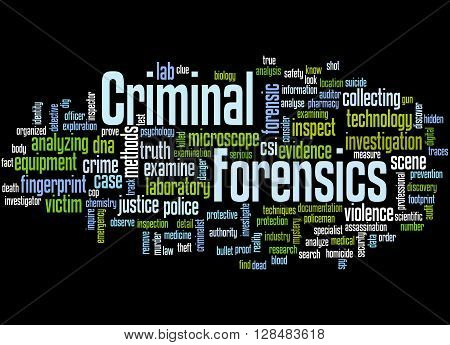 Criminal Forensics, Word Cloud Concept 6
