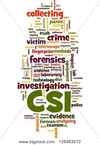 Csi, Crime Scene Investigation Word Cloud Concept 3