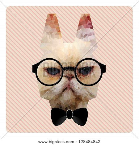 Polygonal Fashion Portrait of Hipster Cat on Pink Stripes Background and Bow Tie
