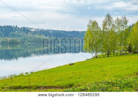 Solina lake shore (Bieszczady mountains, Poland), in the beginning of May