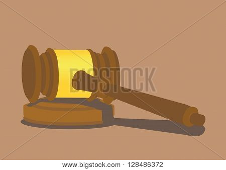 Wooden hammer lying on a small sound block podium. Vector illustration isolated on plain background.