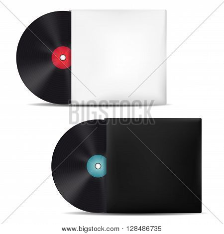 Two vinyl records in light and dark blank sleeves - isolated on white background. Vector illustration.
