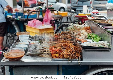Lok-Lok steamboat stall at the Kimberly Street Food Market George Town Penang Malaysia.