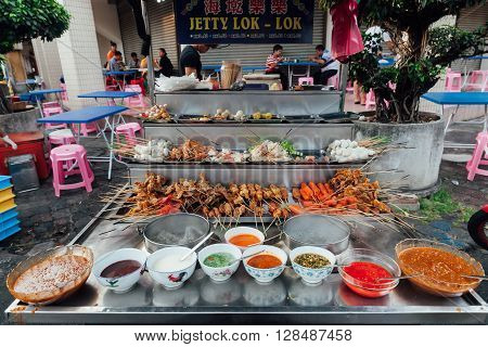 GEORGE TOWN, MALAYSIA - MARCH 22: Lok-Lok steamboat stall at the Kimberly Street Food Market in George Town Penang Malaysia on March 22, 2016.