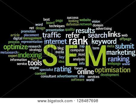 Sem, Search Engine Marketing Optimization Word Cloud Concept 2