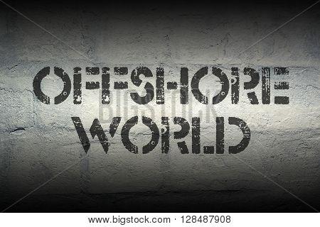 offshore world stencil print on the grunge white brick wall