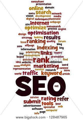 Seo, Search Engine Optimization Word Cloud Concept 8