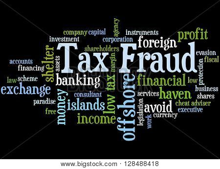 Tax Fraud, Word Cloud Concept 8