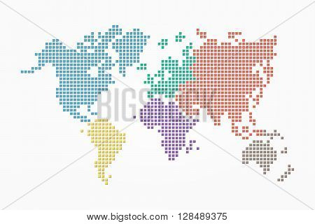 World map ( pixel style and flat color design ) ( different color of continent )