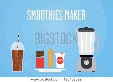 Modern blender with a chocolate shake. Eat chocolate cereal yogurt mixed. All chocolate smoothie for a healthy Breakfast.