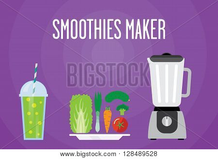 Modern blender with the vegetable cocktail. Eat lettuce cucumber tomato mix. All vegetable smoothies for a healthy Breakfast.