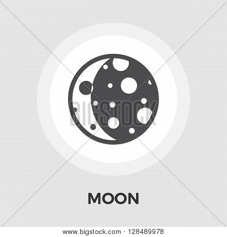 Moon icon vector. Flat icon isolated on the white background. Editable EPS file. Vector illustration.