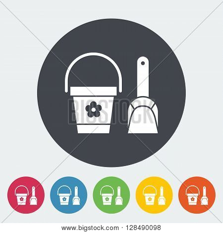 Pail and shovel icon. Flat vector related icon for web and mobile applications. It can be used as - logo, pictogram, icon, infographic element. Vector Illustration.