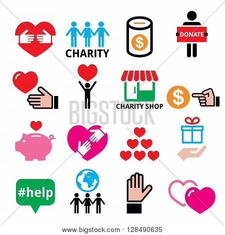 Charity, helping other people, poverty icons  set