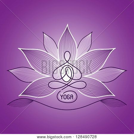 emblem yoga lotus position on a bright background