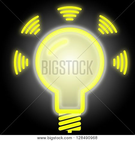 Glowing lightbulb in yellow on black emitting data LiFi concept illustration symbol