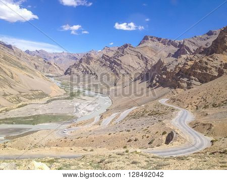 Leh - Manali road landscape view Ladakh India