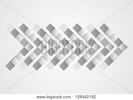 Abstract grey geometric tech arrow design template. Vector background