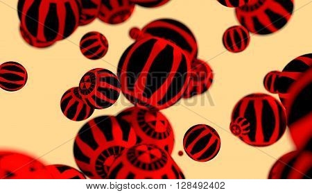 Large group orbs with radiactivity danger sign levitation in empty space. 3D rendering
