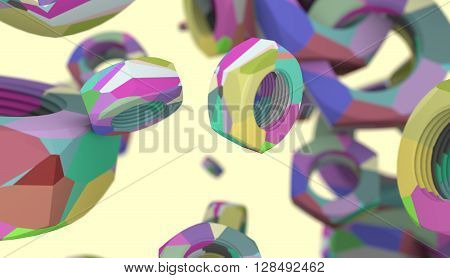 Nuts levitation industry background. Service and repair relative image. Multicolor painting. 3D rendering