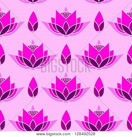 seamless mosaic pattern design with a lotus bud against a bright background