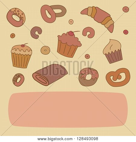 Vector bakery background template with space for text.