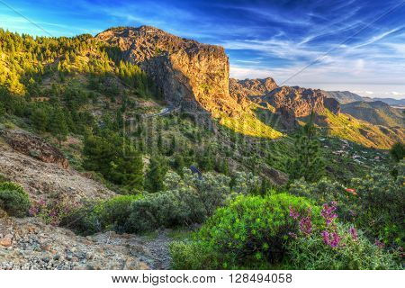 Green mountains of Gran Canaria island at sunset, Spain