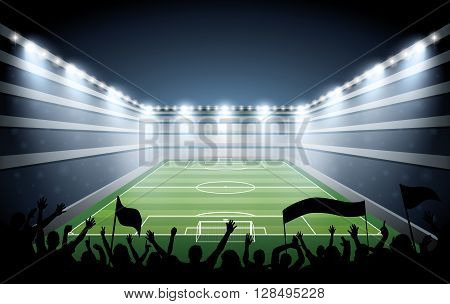 Excited crowd of people at a soccer stadium. vector