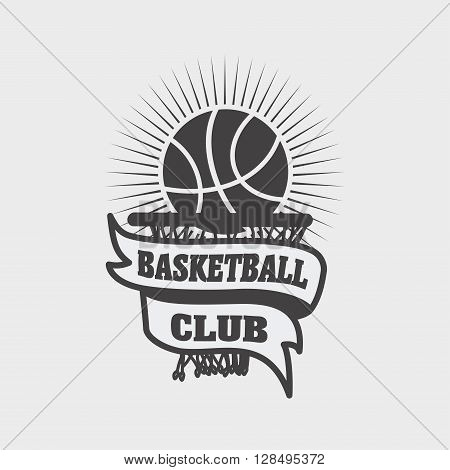 Basketball Club Logo, Label, Emblem Design Template With A Ball,  Ribbon And Basket On A Light Backg