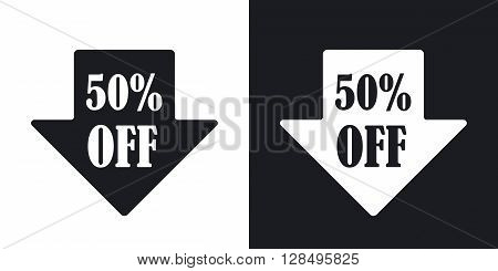 Arrow down with 50% sale tag vector. Two-tone version on black and white background