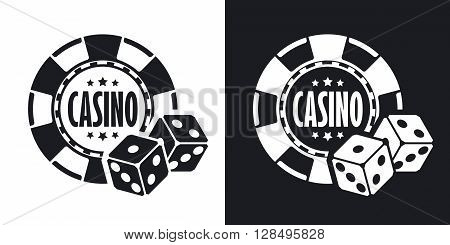 Casino chips with two dices vector icon. Two-tone version on black and white background
