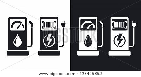 Gas station and charging station for electric car vector icon. Two-tone version on black and white background
