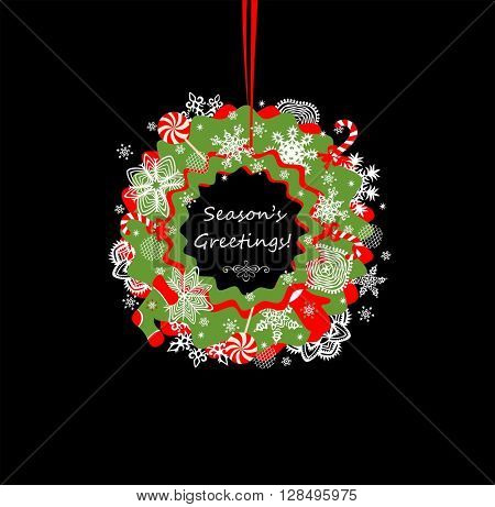 Greeting hanging paper wreath for winter holidays
